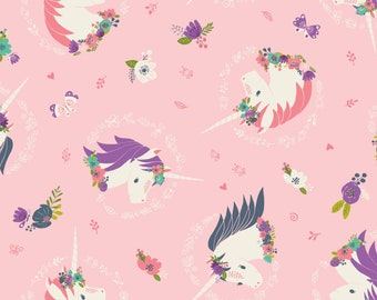 Unicorns and Flowers in Pink from Camelot Fabric's I Believe in Unicorns Collection by Heather Rosas 100% Cotton cf61170606