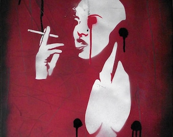 "Original Graffiti Stencil Art by Mr Pilgrim ""Smoking Android"""