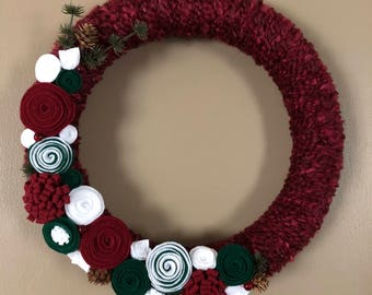 Holiday Christmas red white and green yarn wreath