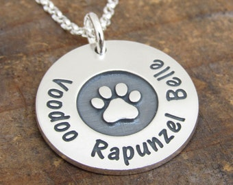 Dog Necklace, Paw Print Necklace, Personalized Paw Print, Dog Mom, Dog Lover Gift, Cat, Pet Memorial Necklace, Pet Lover