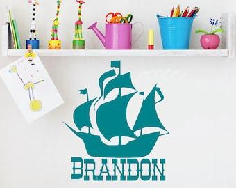 Nautical Nursery Monogram Vinyl Wall Decal Words, Pirate Ship Decal, Boat Sticker, Beach Decor, Nautical Wall Decal, Boys Bedroom playroom