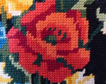 Vintage French Floral Tapestry, Framed Tapestry, European Artwork, Handstitched, Needlepoint 0517035-088