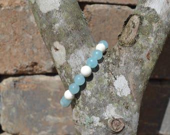 Aquamarine and Howlite Mala Bracelet