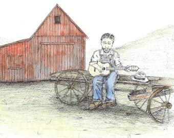 """Original Folk Art: (11"""" x 14"""") Musician with Guitar"""