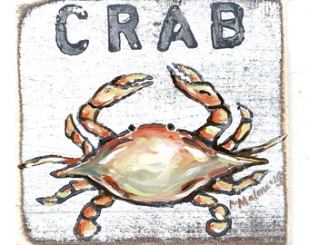 Crab: Wood Sign, New Orleans Art, Kitchen Art, Collectible Art, Crab Boil, Crab Art, Southern Art, NOLA, Seafood Art
