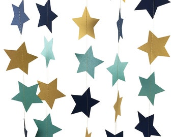 Teal and Gold and Navy Blue Star Garland - Navy and Gold Garland with Teal Blue Stars, Gold and Teal Party Decor - GS033-2-31-113