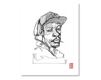 Pete Rock / Black and White / Fine Art Print / Giclee / Yokai Illustration / Artist Portrait Series / One Line / Continuous Line