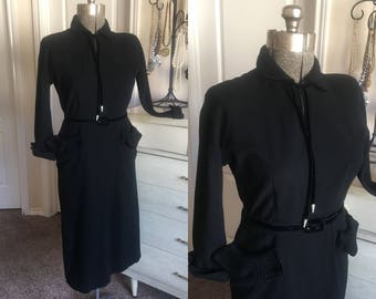 Vintage 1940's 50's Black Wool Fitted Dress M/L