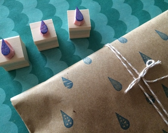 Rain drops rubber stamp set - hand carved and hand crated