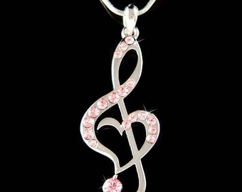 Pink Swarovski Crystal TREBLE G CLEF Love Music Musical Note Heart Pendant Necklace