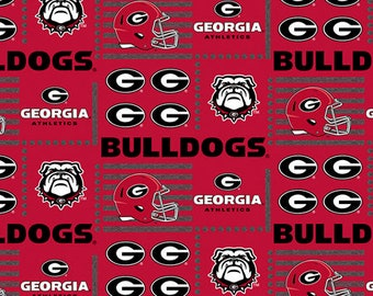 University Of Georgia Bulldogs UG Collegiate Patch Cotton Fabric 1 Yard Sports Team 100% Cotton