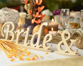Bride & Groom sign  wedding table decoration, freestanding Bride and Groom  signs for sweetheart table