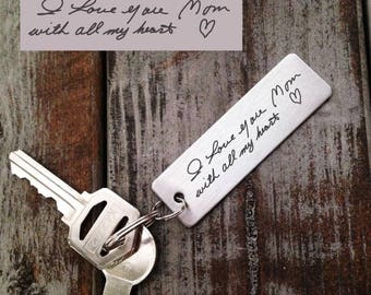 Actual hand writing Key chain  -  Laser Engraved - Brushed Stainless Steel