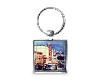 Castro Theater in San Francisco - Glass Photo Keychain - Handmade