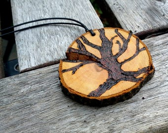 Oak tree with roots, live edge wood sliced pendant, woodburned pyrography, with a leather cord, nature lover, mans gift idea, casual gift