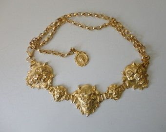 VINTAGE neiman-marcus italy gold tone LION head chain BELT