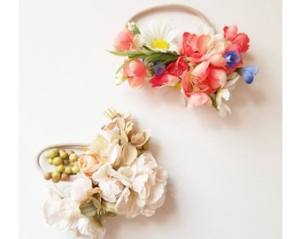 GRAB BAG 2 Flower headbands on nylon - fits newborn on up