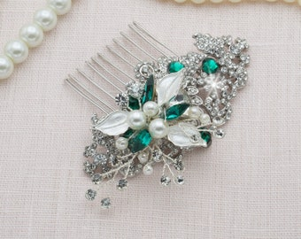 Emerald Headpiece Crystal Pearl Green Hair Comb Emerald Hair Piece Emerald Hair Comb Green Fascinator Green Wedding Tiara Emerald Comb