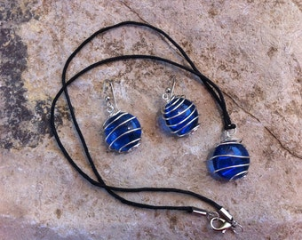 Blue Glass in a Silver Cage necklace and earring set