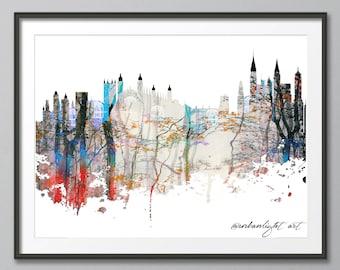 European Skyline, Skyline, Urban Silhouette, Castle Skyline, Cityscape, Art Print, Poster, Modern Art, Painting