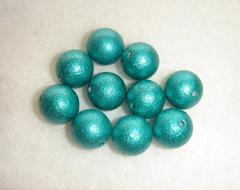 Frosted pearl beads 12 mm emerald green set of 10 vintage