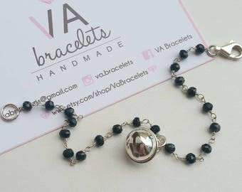 Custom bracelet in 925 sterling silver with rosary necklace and Bell Pendant