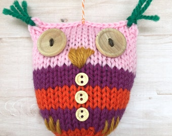 HANDKNIT OWL ORNAMENT holidays Christmas tree baby gift cute orange purple pink