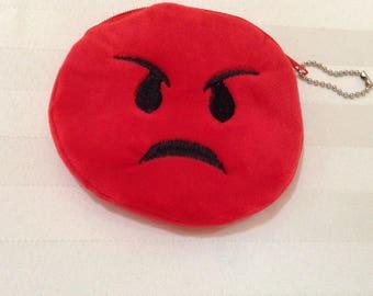 Angry red Emoji face plush change purse.  Angry emoji zipper purse. Angry emoji purse.  Fun Spring break gift.  kids purse.  kids key chain