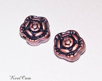 20 x flower copper metal beads
