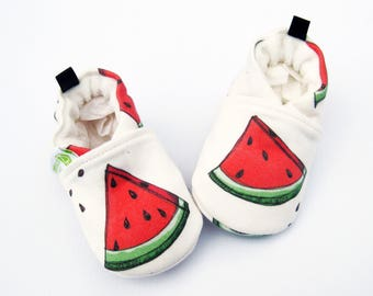 Organic Knits Watermelon / All Fabric Soft Sole Baby Shoes / Made to Order / Babies