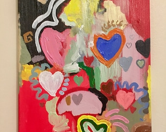 "Medium Abstract Art Acrylic Expressionist Colour Painting ""Love"", Contemporary, Home decor, Original Artwork, Rainbow, Colourful, Hearts"