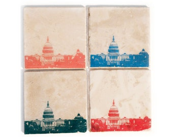 Washington DC Skyline Coaster Set (4 Stone Coasters, Orange, Green, Blue, & Red) Cityscape Home Decor, DC Gift