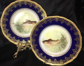 Pair of stunning LIMOGES Delinieres Fish Plates (D&C) France, both Artist Signed. circa1900.