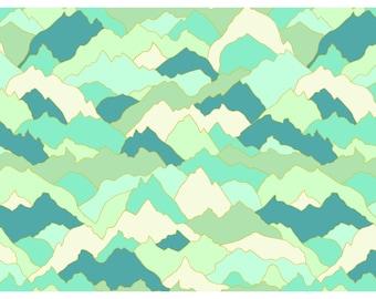 Teal, Aqua, Ivory, Mountain Peaks, Altitude, Dashwood Studios, Pippa Shaw, Quiltex (By YARD)~
