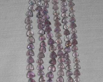 AB, AB Pink Amethyst, Amethyst Briolette, Trillion Briolette, Faceted Trillion, Natural Stone, Semi Precious, 8-9 mm, AdrianasBeads