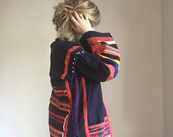 Vintage Hill Tribe Jacket, Heavy Embroidery, Thai Textiles, Handwoven, Festival Jacket, BOHO, Bohemian Cotton Linen Jacket, Hand Embroidered