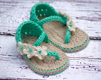 Crocheted baby flip flops