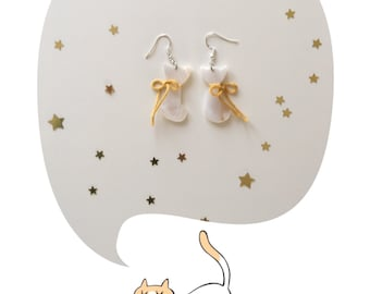 Cat with mustard bow natural shell earrings. Cat earrings. Cat lover gifts. Pendant earrings.