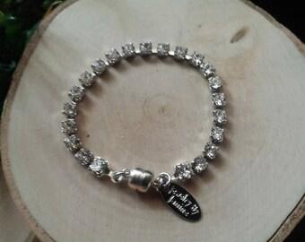 Swarovski Crystal tennis bracelet with magnetic clasp with 4mm clear swarovski crystals