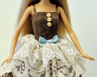 Handmade Barbie Doll Clothes - Brown Dolly Dress