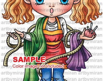 Digital Stamp -All Tied Up (#345), Digi Stamp, Coloring page, Printable Line art for Card and Craft Supply