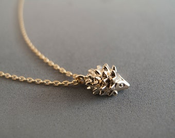 Gold Hedgehog Necklace -  Everyday Jewelry