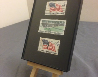 "Veteran - Recycled Postage Stamp Framed Art 3.5""x5"", Vietnam Vet, War vet, soldier, army, navy, military gift, love and war, usa, flag"