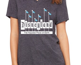 Disney Shirts Womens Disneyland Shirt Disneyland Sign Shirt Disneyland Retro Shirt The Happiest Place on Earth Shirt