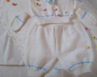Vintage Sunbeam Baby Pattern No. 1363 4ply Sailor Suit.