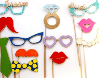 Photo Booth Wedding props, 12 Piece photo Props, Photo Booth Props, Wedding props, Party Decoration Kit, Funny Décor
