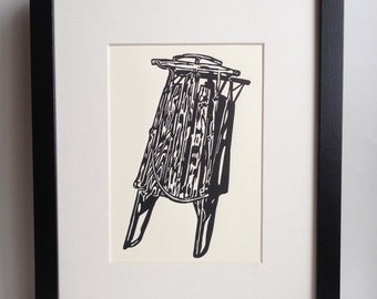 Wooden Sled handmade linocut print (soft white). Holiday gift, holiday decor, home decor, made in Michigan, winter art
