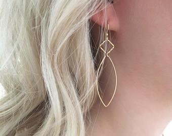 Gold Hoop Earrings, Gold Marquise Hoop Earrings, Long Gold Filled earrings, Square Earrings, Marquise Earrings