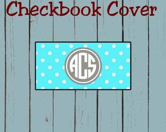 Checkbook Cover Teal Polka Dots Print Pattern Design Monogram Personalized Checkbook cover