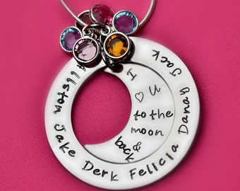 I Love You to the Moon and Back - Personalized Mommy Necklace - Hand Stamped Jewelry - Moon - Kids Name Necklace - Mother, Grandma
